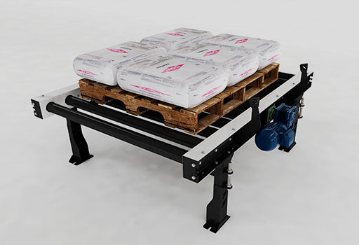 In belt conveyor for full pallets