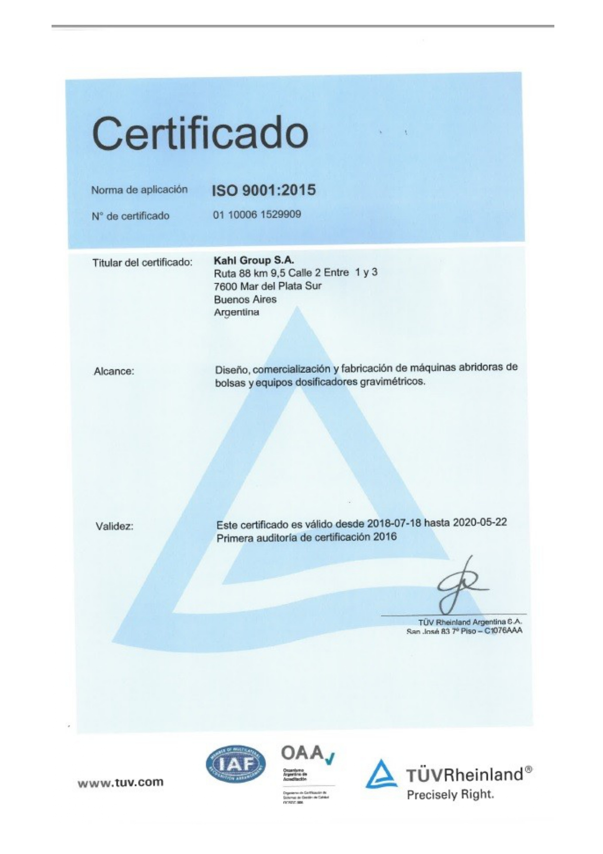Certificaciones KAHL Group normas ISO 9001
