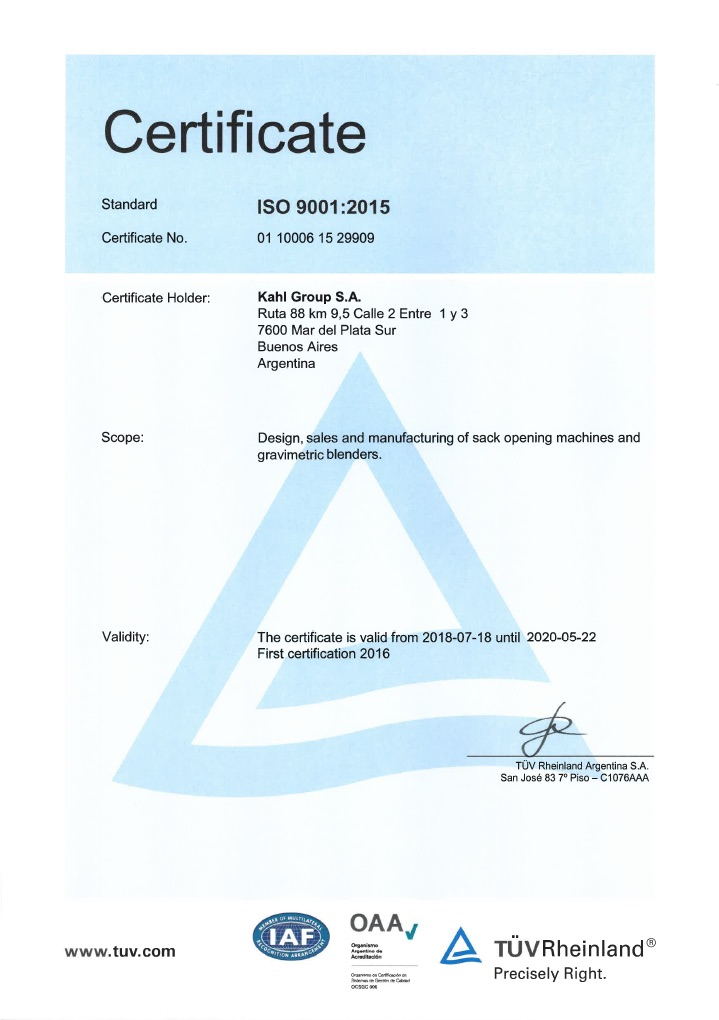 Certifications KAHL Group ISO 9001:2008